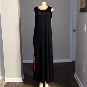 New woman's Exist black maxi dress w/ red & white